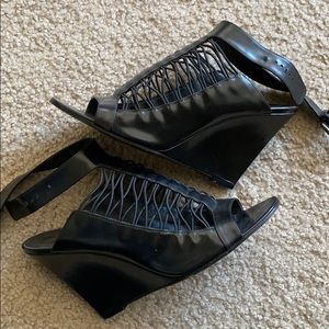 SOLD! Givenchy Black Leather Wedges